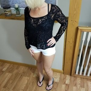 BKE Black Lace Top Long Sleeve